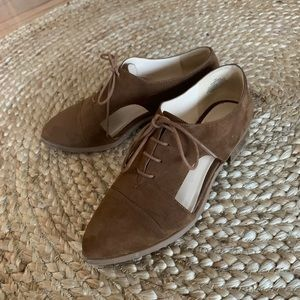 Camel Suede Cutout Loafers